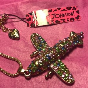 Betsy Johnson colorful airplane necklace
